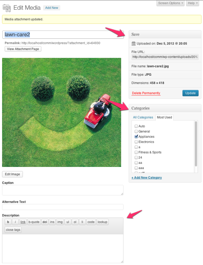 WordPress 3.5 Media Editor with the Category taxonomy enabled for the attachment post type.